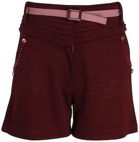Cutecumber Girl Polyester Solid Regular shorts - Maroon