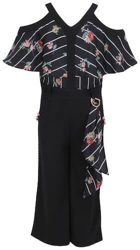 Cutecumber Cotton Striped Bodysuit For Girl - Black