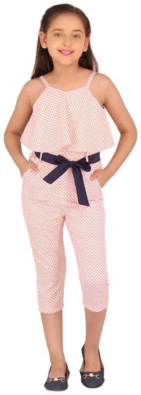 Cutecumber Polyester Polka dots Bodysuit For Girl - Pink