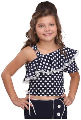 Cutecumber Girl Cotton Polka dots Top - Blue