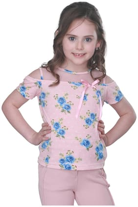 Cutecumber Girl Poly cotton Printed Top - Pink