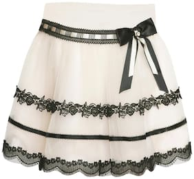 Cutecumber Girl Net Solid A- line skirt - Cream