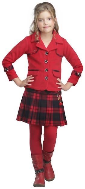 Cutecumber Girl Polyester Top & Bottom Set - Red
