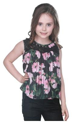 Cutecumber Girl Georgette Printed Top - Black