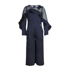Cutecumber Baby Girl Satin Solid Jumpsuit - Blue a0a4d16f2