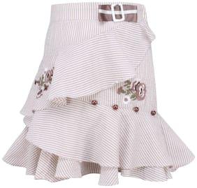 Cutecumber Girl Cotton Striped A- line skirt - Beige