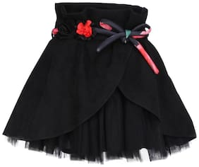 Cutecumber Girl Polyester Embellished A- line skirt - Black