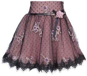Cutecumber Girl Net Embroidered A- line skirt - Black