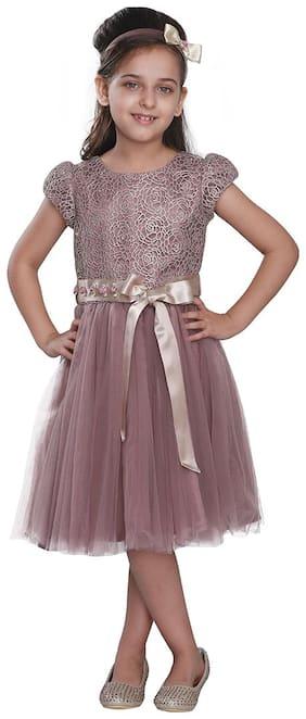 Cutecumber Brown Net Short Sleeves Knee Length Princess Frock ( Pack of 2 )