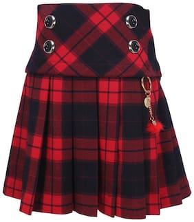 Cutecumber Girl Polyester Checked A- line skirt - Red