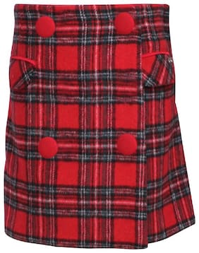Cutecumber Girl Polyester Checked Skorts - Red