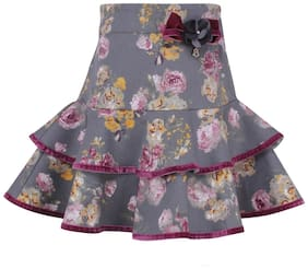 Cutecumber Girl Cotton blend Floral Flared skirt - Grey