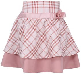 Cutecumber Girl Cotton Checked Wrap skirt - Pink
