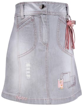 Cutecumber Girl Denim Solid Wrap skirt - Grey