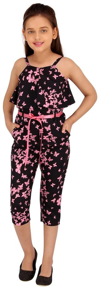 Cutecumber Girls Butterfly Printed Strappy Jumpsuit (Black)