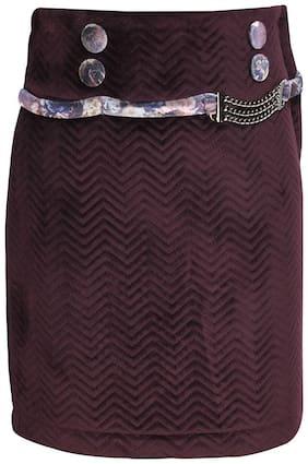 Cutecumber Girl Polyester Embellished Wrap skirt - Purple