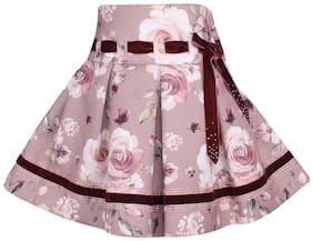 Cutecumber Girl Polyester Floral A- line skirt - Purple