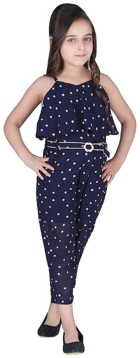 Cutecumber Georgette Polka dots Bodysuit For Girl - Blue