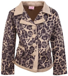 Cutecumber Girl Blended Solid Winter jacket - Brown