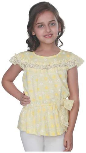 Cutecumber Girl Cotton Printed Top - Yellow