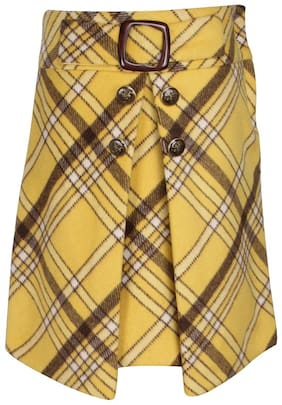 Cutecumber Girl Polyester Checked Wrap skirt - Yellow