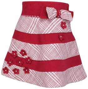 Cutecumber Girl Polyester Striped A- line skirt - Maroon