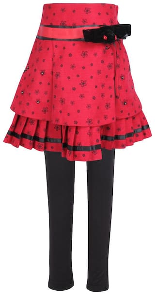 Cutecumber Girl Polyester Printed A- line skirt - Red