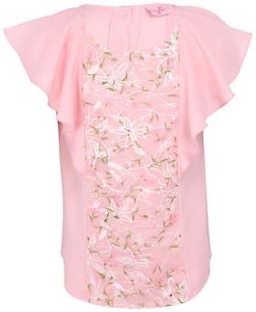 Cutecumber Girl Georgette Embellished Top - Pink