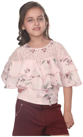Cutecumber Girl Polyester Printed Top - Beige