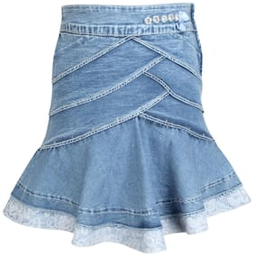 Cutecumber Girl Denim Embellished Flared skirt - Blue