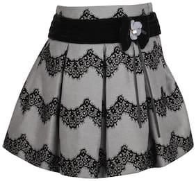 Cutecumber Girl Polyester Embellished A- line skirt - Grey