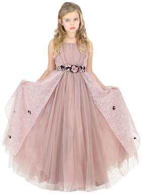 Cutecumber Baby girl Net Solid Princess frock - Purple