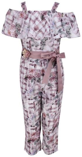 Cutecumber Georgette Floral Bodysuit For Girl - Pink