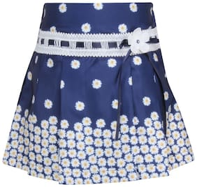 Cutecumber Girl Satin Floral A- line skirt - Blue