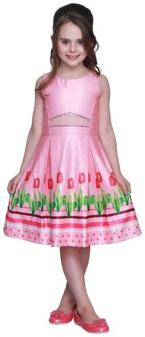Cutecumber Pink Satin Sleeveless Knee Length Princess Frock ( Pack of 1 )