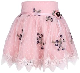 Cutecumber Girl Net Embroidered A- line skirt - Pink