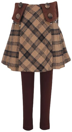 Cutecumber Girl Polyester Checked A- line skirt - Brown