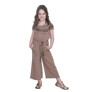 f8413f38bc Buy Cutecumber Baby Girl Polyester Solid Jumpsuit - Brown Online at ...