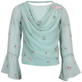 Cutecumber Girl Georgette Embellished Top - Green