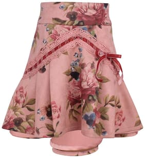 Cutecumber Girl Polyester Floral A- line skirt - Multi