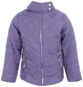 Cutecumber Girl Polyester Solid Winter jacket - Purple
