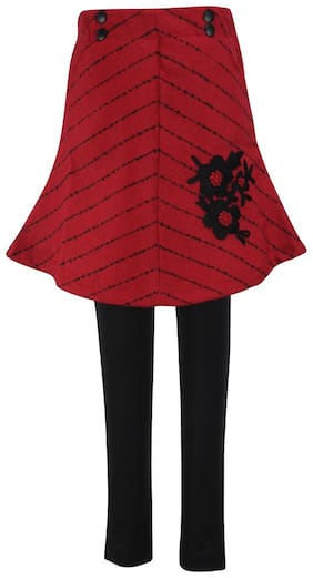 Cutecumber Girl Polyester Striped A- line skirt - Red