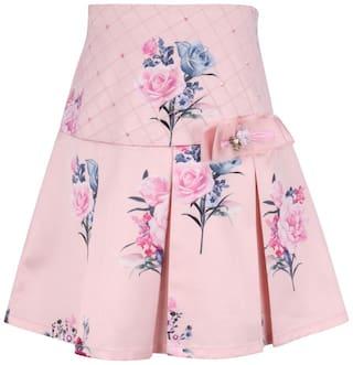 Cutecumber Girl Satin Floral A- line skirt - Pink