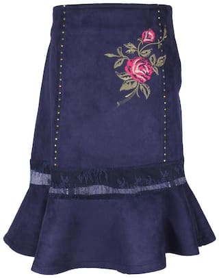 Cutecumber Girl Polyester Embroidered Flared skirt - Blue