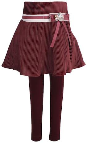 Cutecumber Girl Velvet Embellished A- line skirt - Maroon