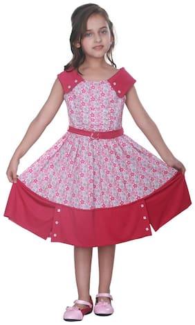 Cutecumber Pink Cotton Sleeveless Knee Length Princess Frock ( Pack of 1 )