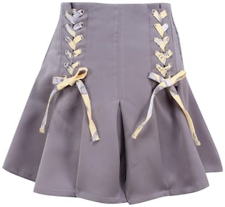 Cutecumber Girl Satin Embellished A- line skirt - Grey