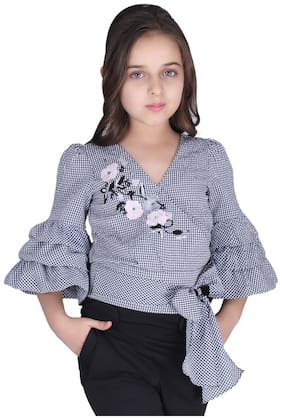 Cutecumber Girl Cotton Checked Top - Black