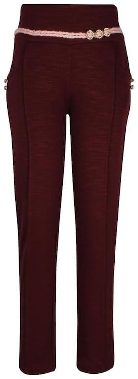 Cutecumber Girl Cotton Trousers - Maroon
