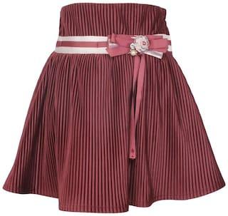 Cutecumber Girl Velvet Embellished A- line skirt - Purple